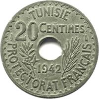 reverse of 20 Centimes - Aḥmad II ibn Ali (1942) coin with KM# 268 from Tunisia. Inscription: TUNISIE 20 CENTIMES 1942 PROTECTORAT FRANÇAIS
