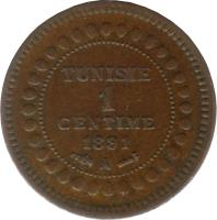 reverse of 1 Centime - Ali III (1891) coin with KM# 219 from Tunisia. Inscription: TUNISIE 1 CENTIME 1891 A