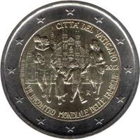 obverse of 2 Euro - Benedict XVI - World Meeting of Families (2012) coin with KM# 435 from Vatican City. Inscription: CITTA' DEL VATICANO R 2012 G.TITOTTO VII INCONTRO MONDIALE DELLE FAMIGLIE
