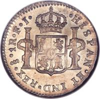 reverse of 1 Real - Carlos IV - Colonial Milled Coinage (1792 - 1808) coin with KM# 58 from Chile. Inscription: · HISPAN · ET IND · REX · Sᴼ · 1 R · A · J ·