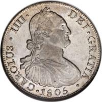 obverse of 8 Reales - Carlos IV - Colonial Milled Coinage (1791 - 1808) coin with KM# 51 from Chile. Inscription: CAROLUS · IIII · DEI · GRATIA