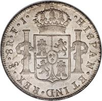 reverse of 8 Reales - Carlos IV - Colonial Milled Coinage (1791 - 1808) coin with KM# 51 from Chile. Inscription: HISPAN . ET IND.REX.So.8R.F.J