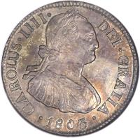 obverse of 2 Reales - Carlos IV - Colonial Milled Coinage (1792 - 1808) coin with KM# 59 from Chile.