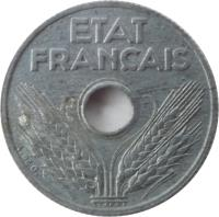 obverse of 10 Centimes (1943 - 1944) coin with KM# 903 from France. Inscription: ETAT FRANÇAIS