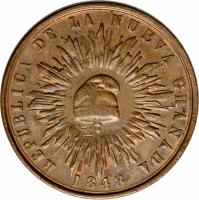 obverse of 1 Décimo (1847 - 1848) coin with KM# 102 from Colombia.