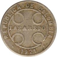 obverse of 1 Centavo - Leprosarium Coinage (1921) coin with KM# L9 from Colombia. Inscription: REPUBLICA DE COLOMBIA LAZARETO * 1921 *