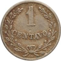 reverse of 1 Centavo - Leprosarium Coinage (1921) coin with KM# L9 from Colombia. Inscription: 1 CENTAVO RH