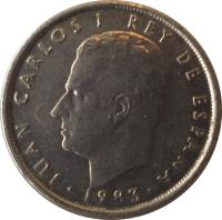 obverse of 10 Pesetas - Juan Carlos I (1983 - 1985) coin with KM# 827 from Spain. Inscription: JUAN CARLOS I REY DE ESPAÑA 1988