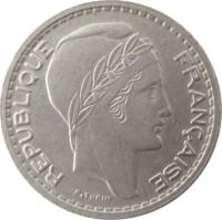 obverse of 10 Francs (1947 - 1949) coin with KM# 909 from France. Inscription: REPUBLIQUE FRANÇAISE P.TURIN