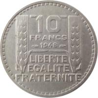 reverse of 10 Francs (1947 - 1949) coin with KM# 909 from France. Inscription: 10 FRANCS 1948 LIBERTE EGALITE FRATERNITE