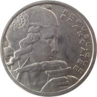 obverse of 100 Francs (1954 - 1958) coin with KM# 919 from France. Inscription: REPUBLIQUE FRANÇAISE CR