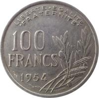 reverse of 100 Francs (1954 - 1958) coin with KM# 919 from France. Inscription: LIBERTE EGALITE FRATERNITE 100 FRANCS 1954 R COCHET B