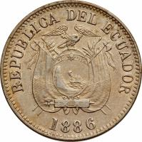 obverse of 1/2 Decimo (1884 - 1886) coin with KM# 49 from Ecuador. Inscription: REPUBLICA DEL ECUADOR