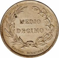 reverse of 1/2 Decimo (1884 - 1886) coin with KM# 49 from Ecuador. Inscription: MEDIO DECIMO HEATON. BIRMINGHAM