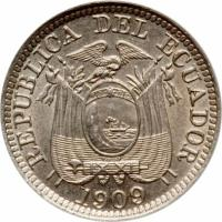 obverse of 1/2 Centavo (1909) coin with KM# 57 from Ecuador. Inscription: REPUBLICA DEL ECUADOR