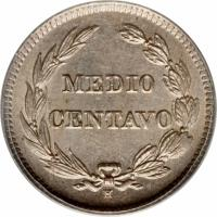 reverse of 1/2 Centavo (1909) coin with KM# 57 from Ecuador. Inscription: MEDIO CENTAVO
