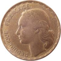 obverse of 50 Francs (1950 - 1958) coin with KM# 918 from France. Inscription: REPUBLIQUE FRANÇAISE G GUIRAUD