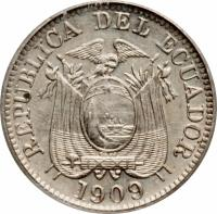 obverse of 1 Centavo (1909) coin with KM# 58 from Ecuador. Inscription: REPUBLICA DEL ECUADOR