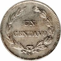 reverse of 1 Centavo (1909) coin with KM# 58 from Ecuador. Inscription: UN CENTAVO