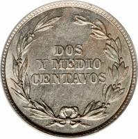 reverse of 2 1/2 Centavos (1917) coin with KM# 61 from Ecuador. Inscription: DOS Y MEDIO CENTAVOS