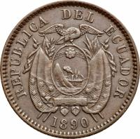 obverse of 1/2 Centavo (1890) coin with KM# 54 from Ecuador. Inscription: REPUBLICA DEL ECUADOR 1890