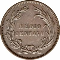 reverse of 1/2 Centavo (1890) coin with KM# 54 from Ecuador. Inscription: MEDIO CENTAVO H