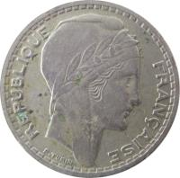 obverse of 10 Francs (1945 - 1947) coin with KM# 908 from France. Inscription: REPUBLIQUE FRANÇAISE P.TURIN