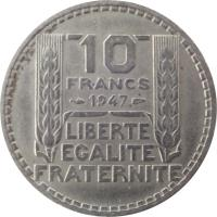 reverse of 10 Francs (1945 - 1947) coin with KM# 908 from France. Inscription: 10 FRANCS 1946 LIBERTE EGALITE FRATERNITE