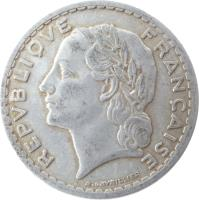 obverse of 5 Francs (1945 - 1952) coin with KM# 888b from France. Inscription: REPUBLIQUE FRANÇAISE A.LAVRILLIER