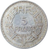 reverse of 5 Francs (1945 - 1952) coin with KM# 888b from France. Inscription: RF 5 FRANCS 1949