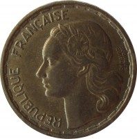 obverse of 20 Francs - GEORGES GUIRAUD (1950) coin with KM# 916 from France. Inscription: REPUBLIQUE FRANÇAISE GEORGES GUIRAUD