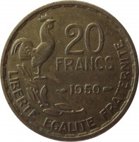reverse of 20 Francs - GEORGES GUIRAUD (1950) coin with KM# 916 from France. Inscription: 20 FRANCS 1950 LIBERTE EGALITE FRATERNITE