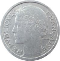 obverse of 2 Francs (1941 - 1959) coin with KM# 886a from France. Inscription: REPUBLIQUE FRANÇAISE MORLON