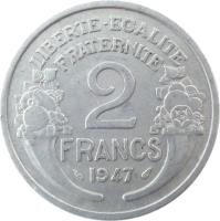 reverse of 2 Francs (1941 - 1959) coin with KM# 886a from France. Inscription: LIBERTE-EGALITE FRATERNITE 2 FRANCS 1958