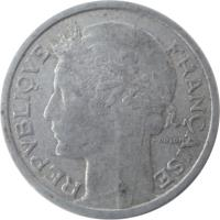 obverse of 1 Franc (1941 - 1959) coin with KM# 885a from France. Inscription: REPUBLIQUE FRANÇAISE MORLON