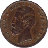 obverse of 1 Ban - Carol I (1900) coin with KM# 26 from Romania. Inscription: CAROL I REGE AL ROMANIEI KULLRICH