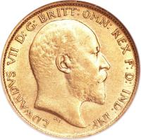 obverse of 1/2 Sovereign - Edward VII (1902 - 1910) coin with KM# 14 from Australia. Inscription: EDWARDVS VII D: G: BRITT: OMN: REX F: D: IND: IMP: DeS.