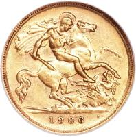 reverse of 1/2 Sovereign - Edward VII (1902 - 1910) coin with KM# 14 from Australia. Inscription: M B.P. 1906