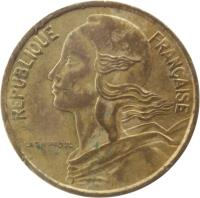 obverse of 5 Centimes (1966 - 2001) coin with KM# 933 from France. Inscription: REPUBLIQUE FRANÇAISE LAGRIFFOUL