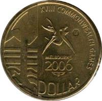 reverse of 1 Dollar - Elizabeth II - XVIII Commonwealth Games - 4'th Portrait (2006) coin with KM# 804 from Australia. Inscription: XVIII COMMONWEALTH GAMES M MELBOURNE 2006 1 DOLLAR