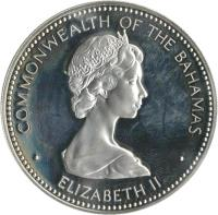 obverse of 10 Dollars - Elizabeth II - Independence Day (1973) coin with KM# 42 from Bahamas. Inscription: COMMONWEALTH OF THE BAHAMAS · ELIZABETH II ·
