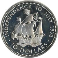reverse of 10 Dollars - Elizabeth II - Independence Day (1973) coin with KM# 42 from Bahamas. Inscription: INDEPENDENCE 10 JULY 1973 · 10 DOLLARS ·
