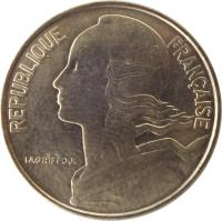 obverse of 10 Centimes (1962 - 2001) coin with KM# 929 from France. Inscription: REPUBLIQUE FRANÇAISE LAGRIFFOUL