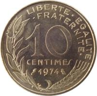 reverse of 10 Centimes (1962 - 2001) coin with KM# 929 from France. Inscription: LIBERTE · EGALITE · FRATERNITE · 10 CENTIMES 1974 A. DIEUDONNE